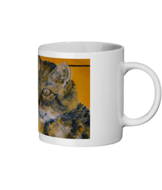 Golden yellow tabby cat mug, animal mug, golden yellow coffee mug