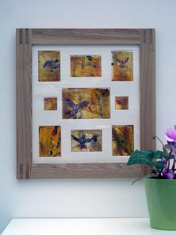Golden yellow birds art, abstract orange bird rt, London landmark acrylic painting