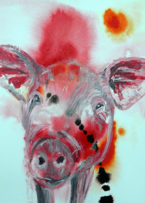 pig print, farmyard animal art, red pig art print