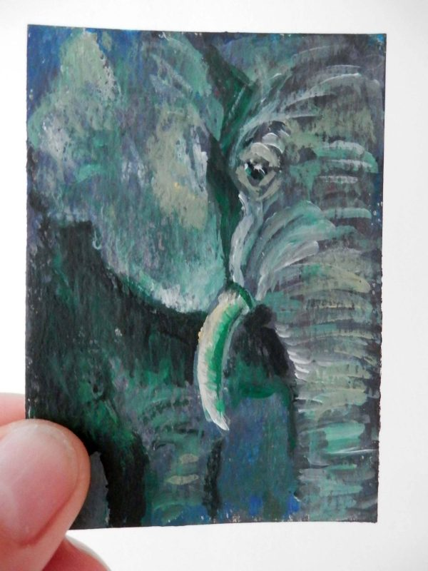 Green ACEO, elephant painting, miniature wildlife