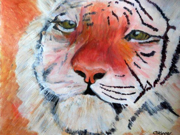 orange wildlife art, Amur tiger painting, tiger print