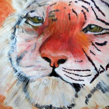 orange wildlife art, Amur tiger painting, tiger print