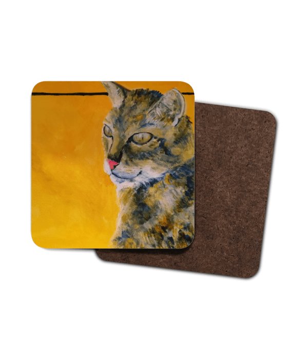 Tabby cat coaster, cat drinks mat, single tabby cat coaster, set of 4 cat coasters