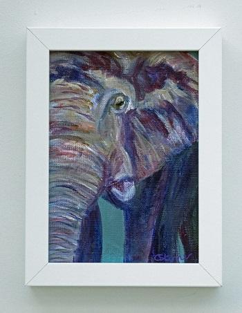 small purple and teal elephant painting, elehant artwork, purple home decor, wildlife art