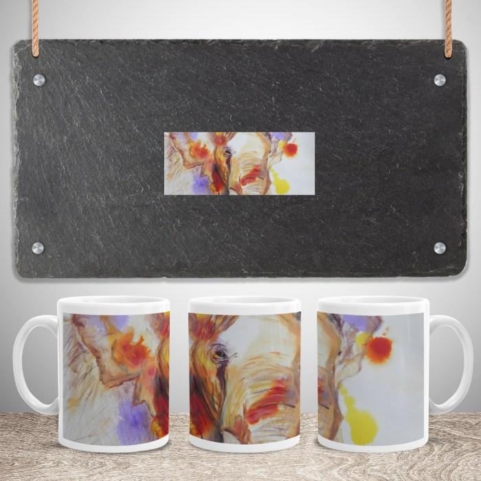 Colourful abstract elephant ceramic mug