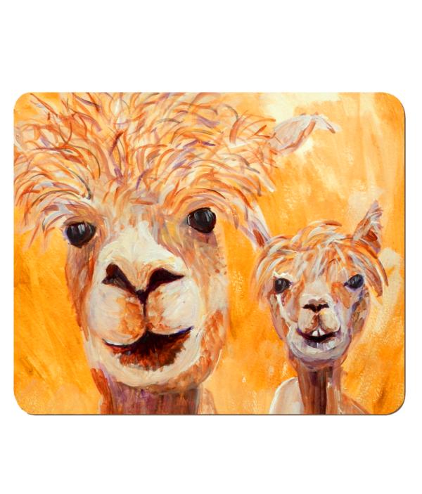 alpaca placemat, wooden llama placemat, hardboard placemat, orange table mat
