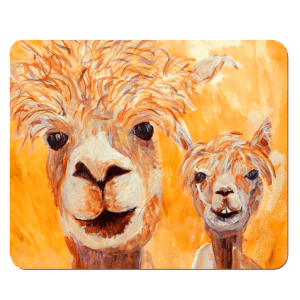alpaca placemat, wooden llama placemat, hardboard placemat, orange table mat