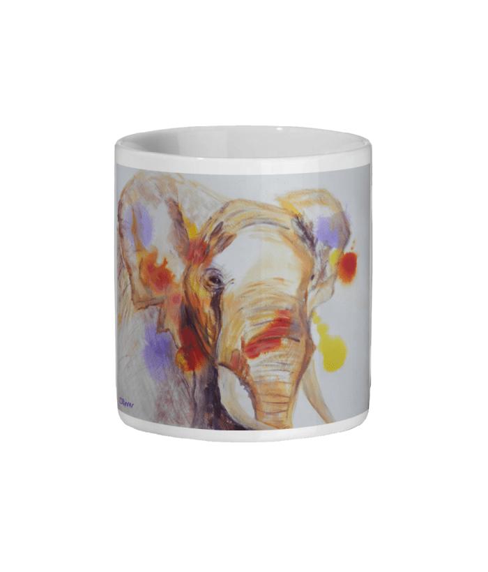 colourful African elephant mug, wildlife gift, coffee drinker gift, teatime gift
