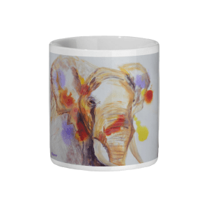 colourful African elephant mug, wildlife gift, coffee drinker gift, teatime gift