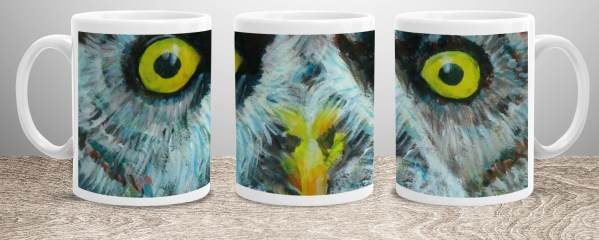 Great grey owl mug with huge yellow eyes