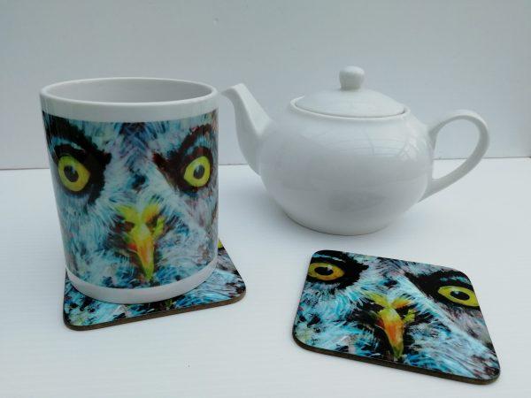 great grey owl mug and coaster, wild bird cup and drinks mat