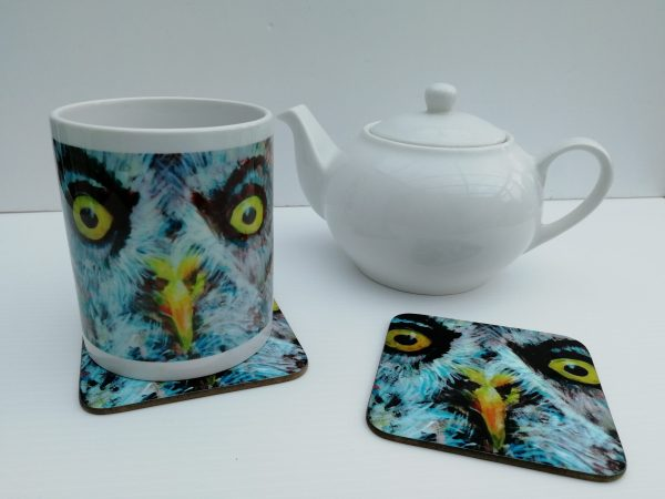 great grey owl mug and coaster, wild bird cup and drinks mat