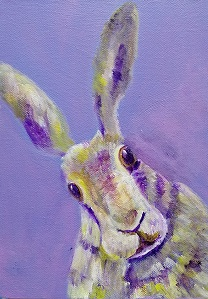 Purple hare painting, lilac rabbit art, colourful hare print