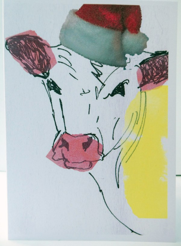 funny cow card, cow in a party hat card, blank cow Christmas card, festive animal card