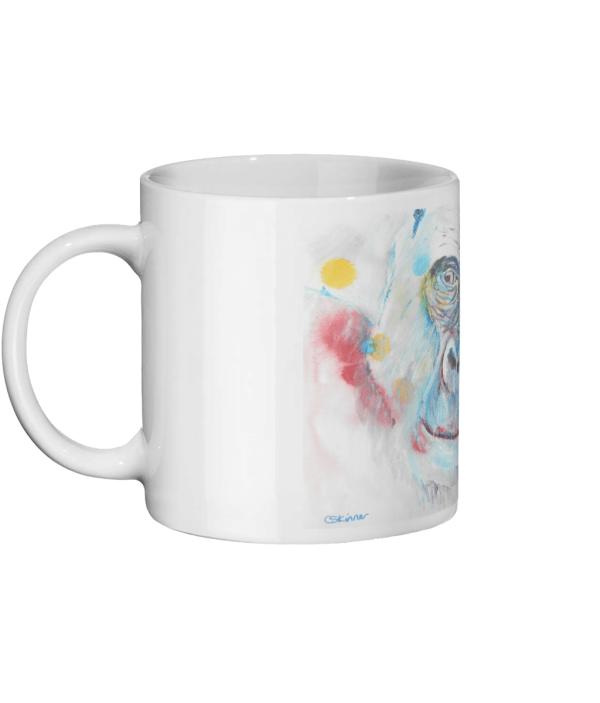blue and white animal mug, gorilla mug, gift for Dad, ape mug, coffee lover mug, tea time mug, ceramic animal mug