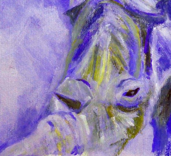 blue rhinp artwork, colourful wildlife print, purplish-blue home decor