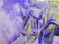 blue rhino print, blue rhino artwork, blue and green wildlife art