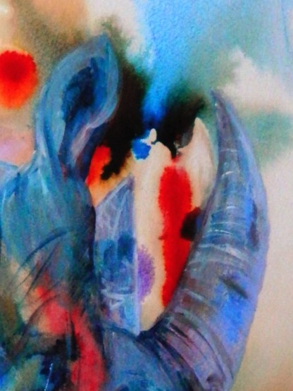 Blue and red abstract wildlife art, rhino painting, animal lover art, endangered wildlife art