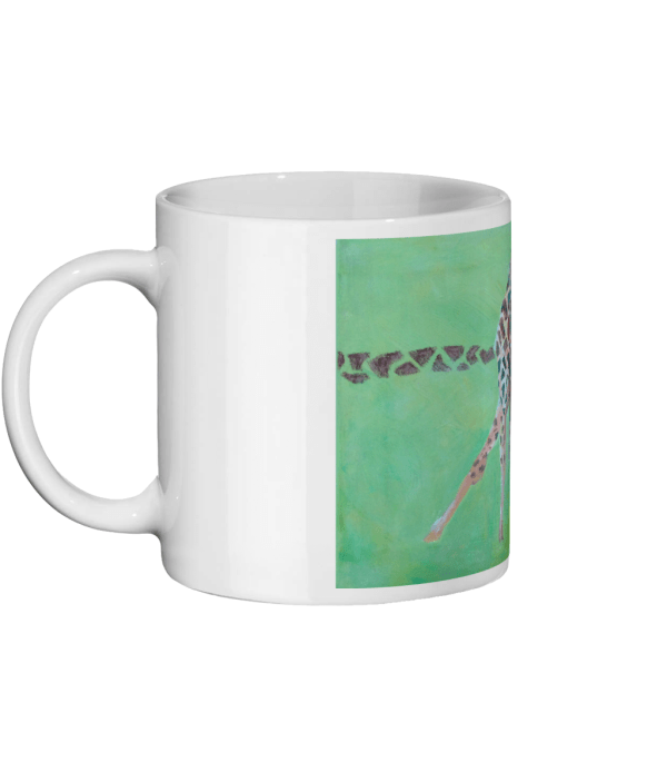 giraffe mug, wildlife homeware, giraffe gift, green and red mug, animal mug