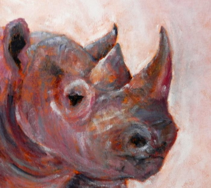 Pink Rhino Acrylic Painting, wildlife artwork, pink and orange home decor