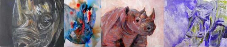 Rhino art, rhino paintings, rhino prints, colourful wildlife art, animal home decor