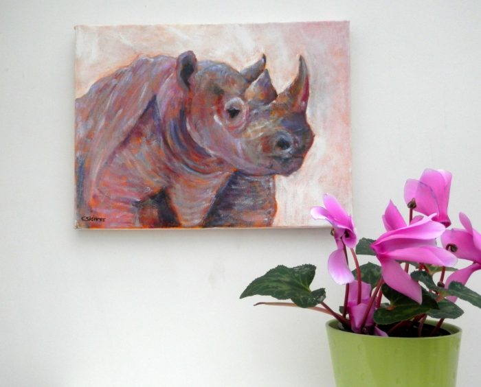 pink rhino acrylic painting, wildlife art, African animal wall art, dusky pink home decor