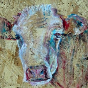 cow print, colourful farmyard art, textured farm animal decor, rustic barn art, modern cow print
