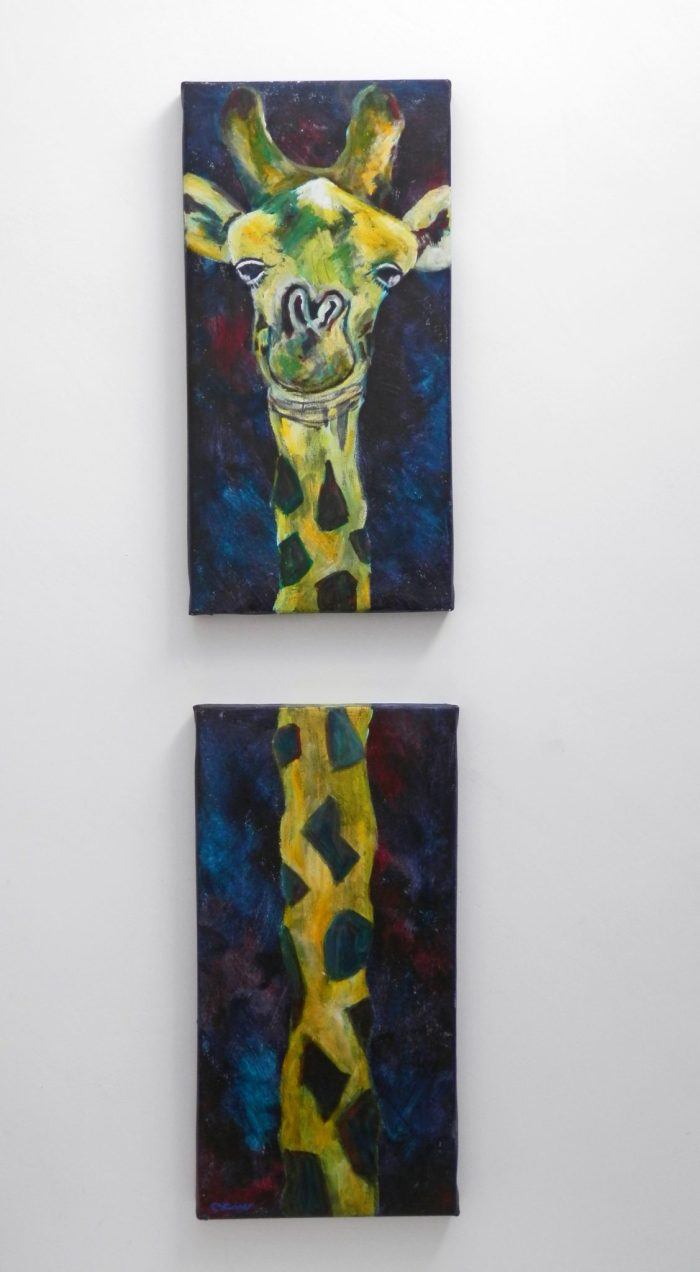 Long giraffe diptych, cute wildlife art, whimsical giraffe wall decor, yellow and green animal art