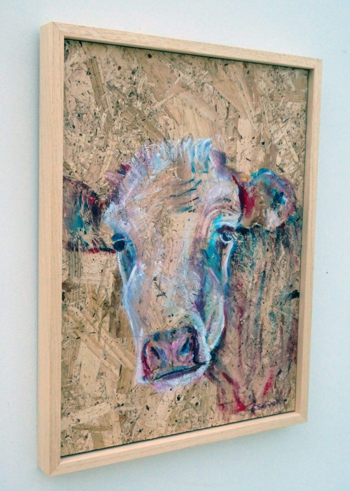 Textured painting of a cow