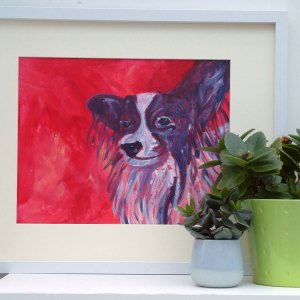 Papillon Dog painting, red home decor, framed toy dog breed art, Papillon dog wall decor