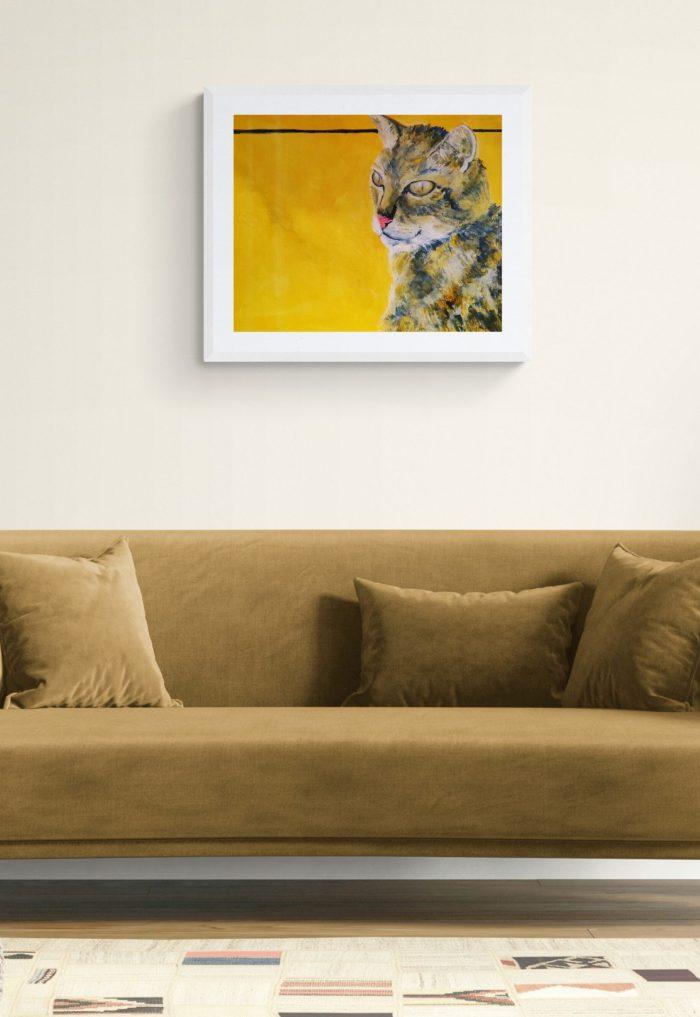 Tabby cat painting in white frame by Caroline Skinner Art