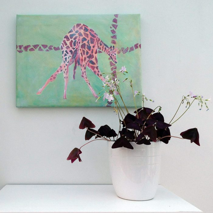 giraffe painting, green living room decor, green and red wildlife art, animal canvas art
