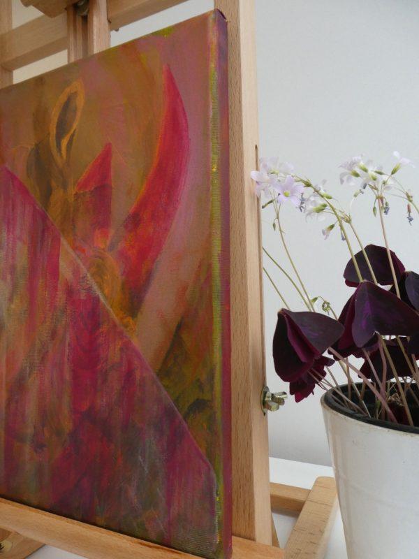 Pink wall decor, gold home decoration, rhino artwork