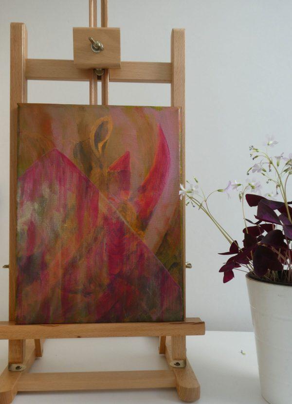 Pink and gold artwork for living room, rhino artwork, original wildlife wall decor