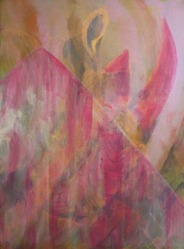 pink and gold home decor, rhino painting, acrylic wildlife art