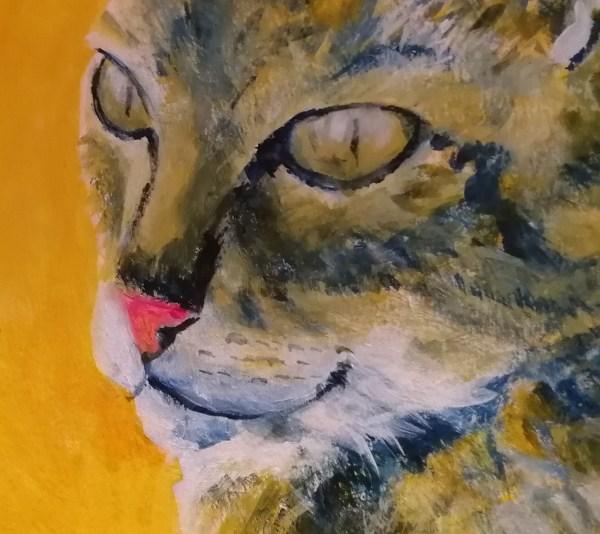 tabby cat close up, tortoiseshell cat art, golden yellow home decor