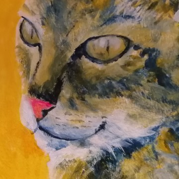 tabby cat close up, tortoiseshell cat art, golden yellow home decor