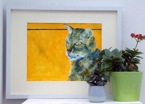 Tortoiseshell cat painting, golden yellow animal art, orange pet portrait, cat lover gift