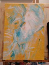 work in progress, yellow elephant painting