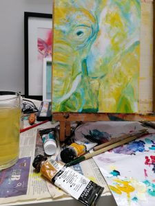 yellow elephant painting, work in progress, expressive wildlife art
