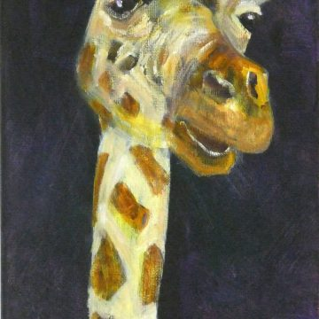 Colourful giraffe art canvas