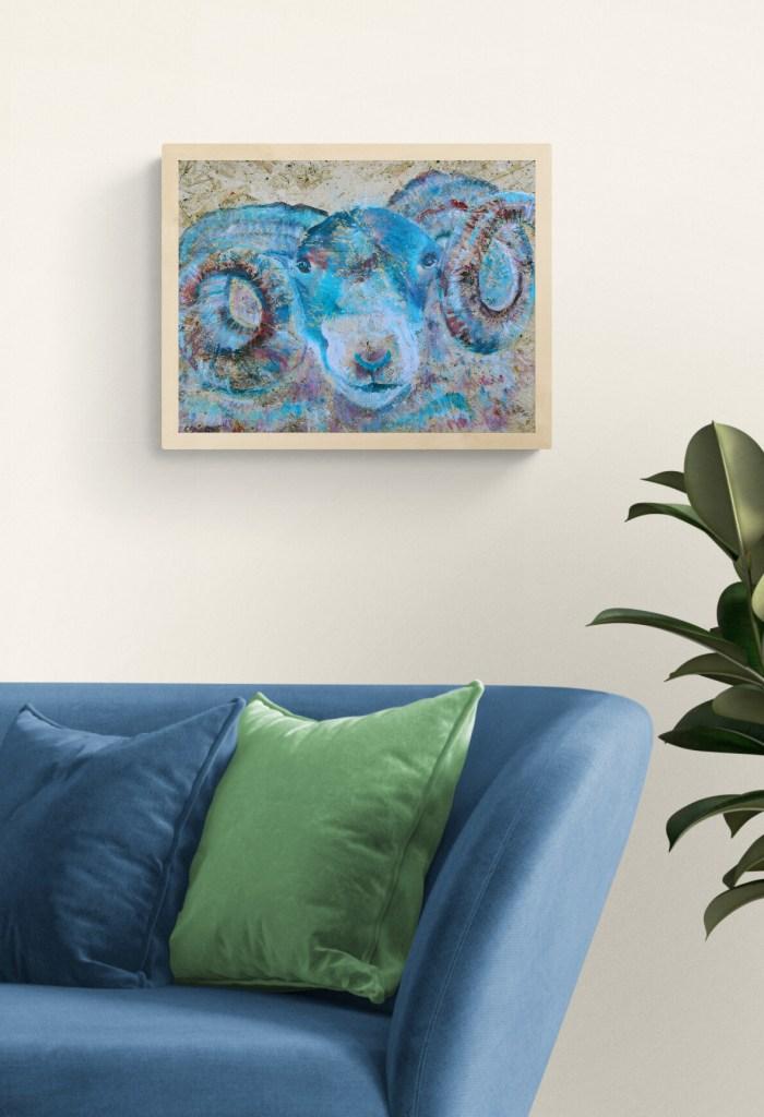 Textured blue ram painting by Caroline Skinner Art