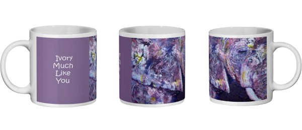 views of purple elephant mug