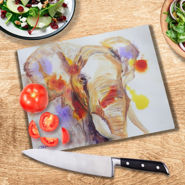 African elephant textured glass cutting board