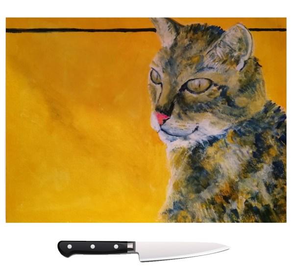 Tabby Cat glass chopping board