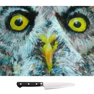 great grey owl glass chopping board