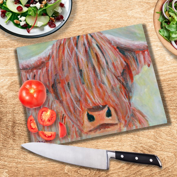 Colourful highland cow glass chopping board