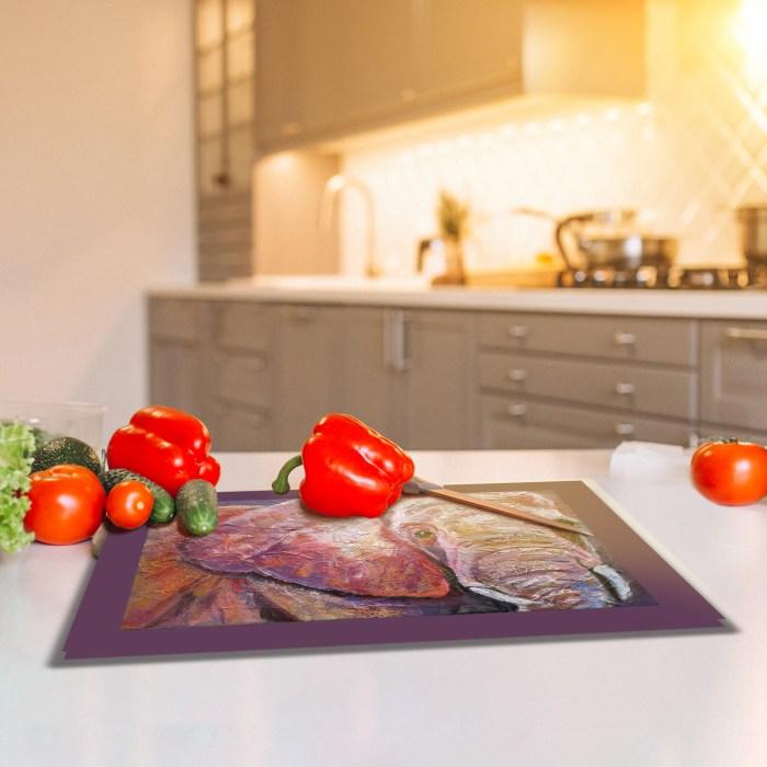 Heatproof textured glass chopping board