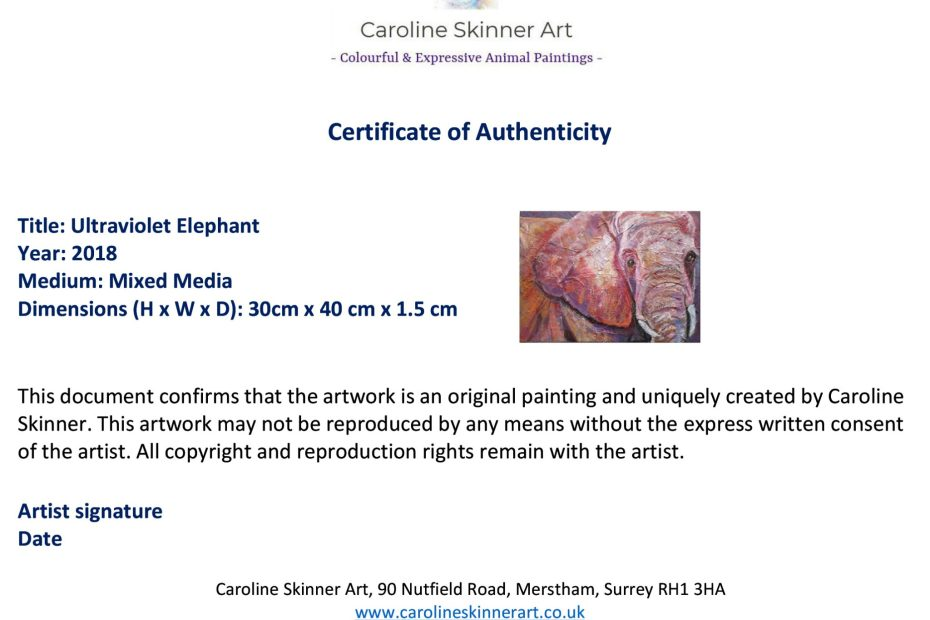 certificate of authenticity for colourful animal paintings by Caroline Skinner Art