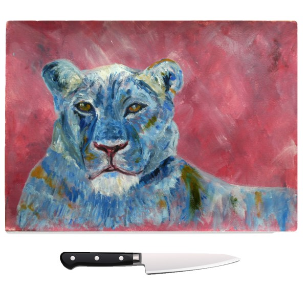 Tempered glass chopping board for lion lovers